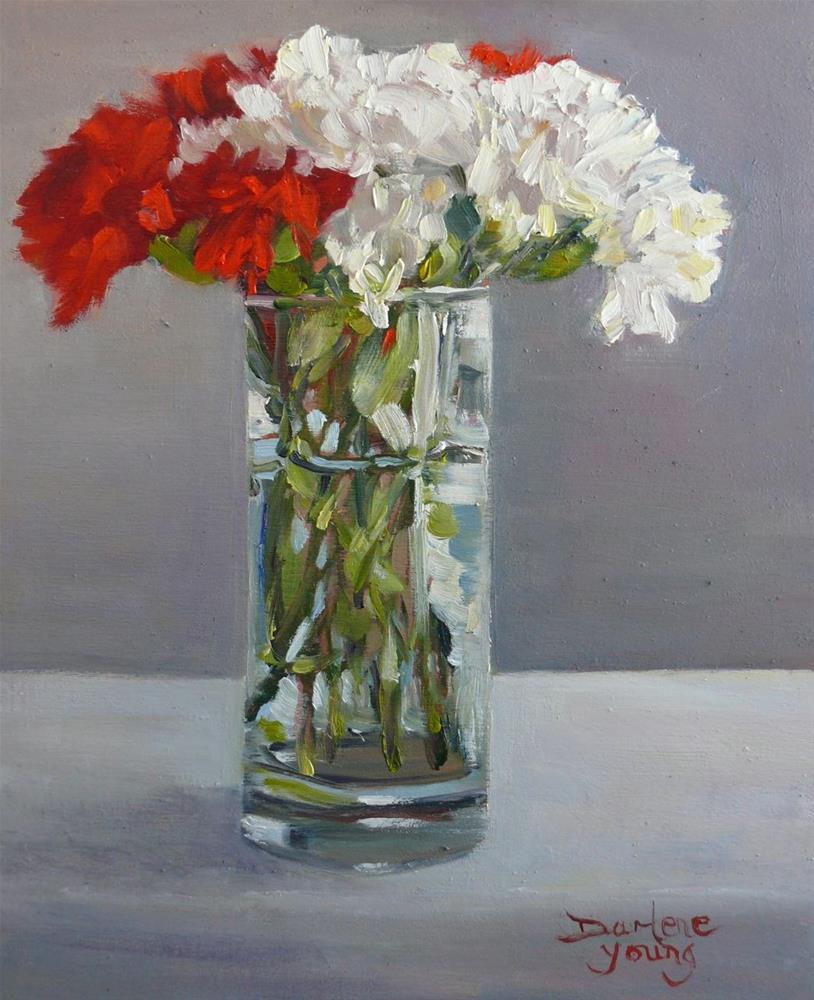"""847 Red and White Carnations in a Water Glass, oil on board, 8x10"" original fine art by Darlene Young"