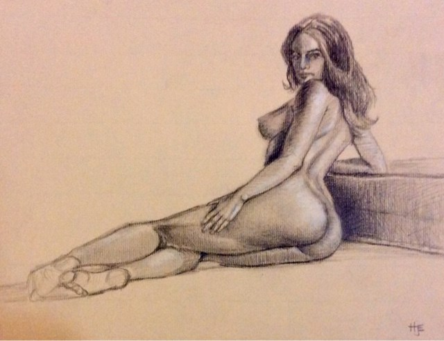 """Study of female nude from behind"" original fine art by Hilary J. England"