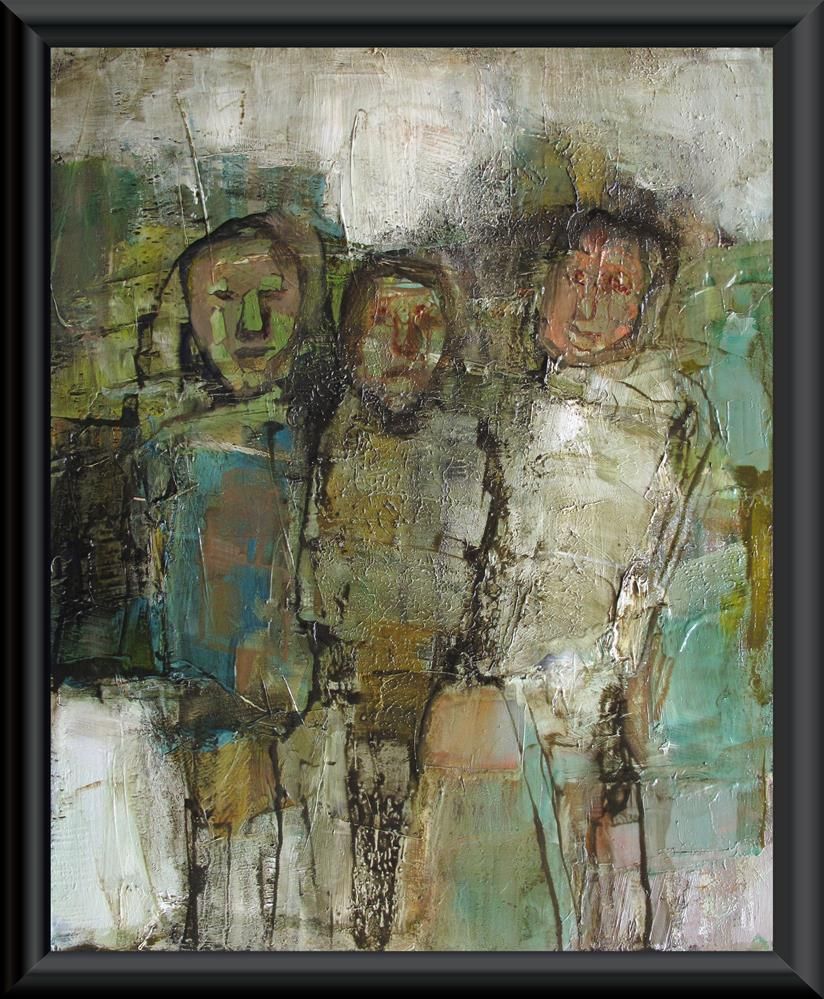 """THE THREE OF DIAMONDS Original ABSTRACT FIGURE PORTAIT 8X10 Art Painting OIL"" original fine art by Colette Davis"
