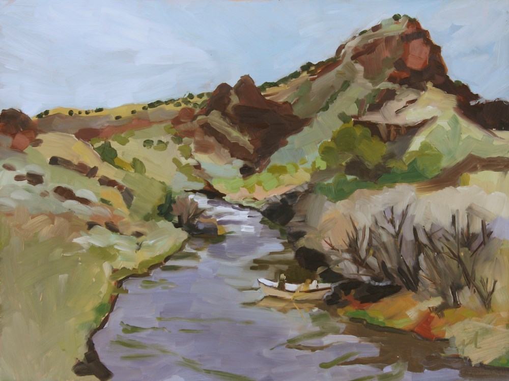 """Boating the Rio Grande"" original fine art by Jessie Dodington"