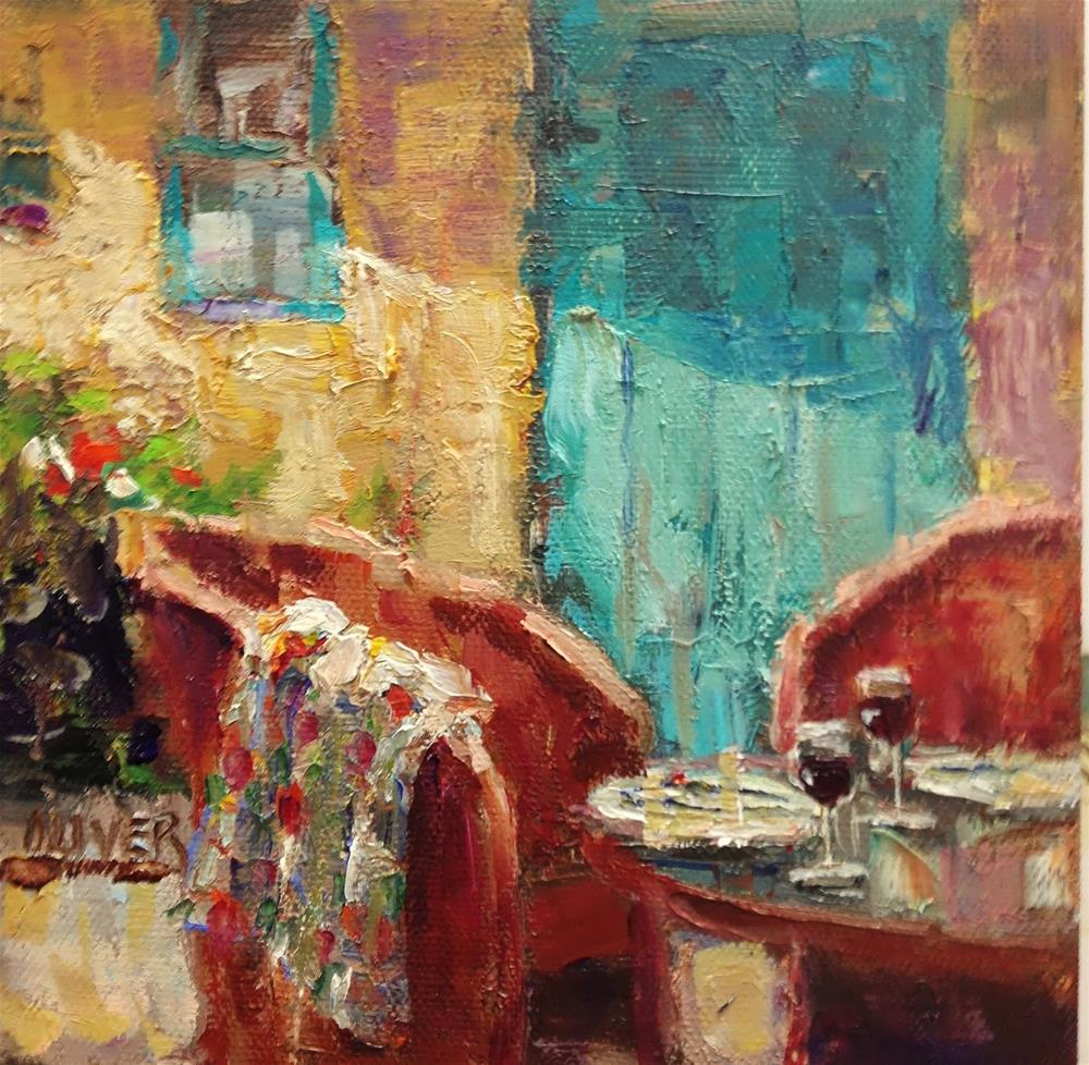 """Patio Comfort, New Mexico Style"" original fine art by Julie Ford Oliver"
