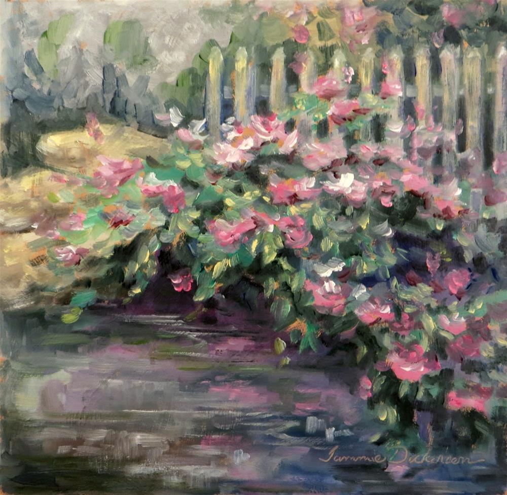 """Roses by the Fence"" original fine art by Tammie Dickerson"