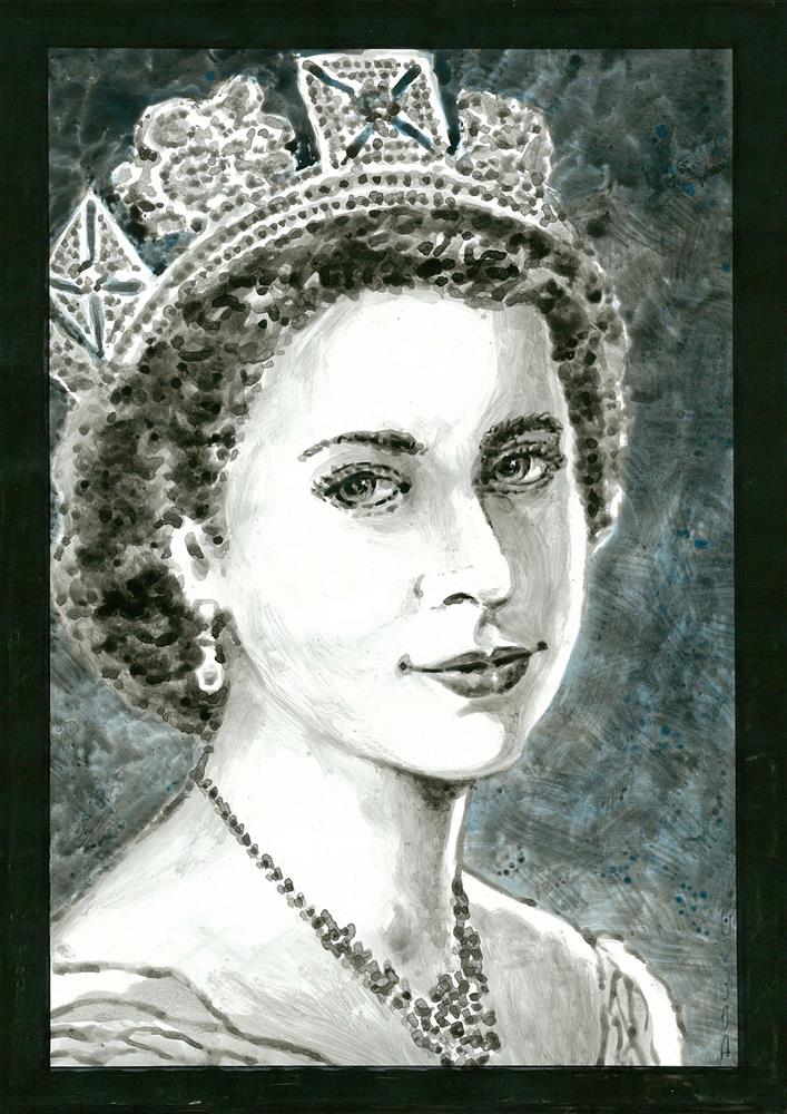 """154 QE2 CORONATION PORTRAIT 2"" original fine art by Trevor Downes"