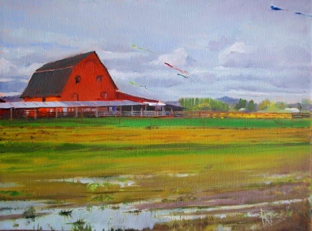 """Kites over LaConner  oil landscape painting"" original fine art by Robin Weiss"