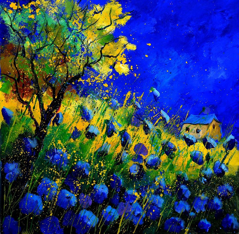 """blue poppies 556130"" original fine art by Pol Ledent"