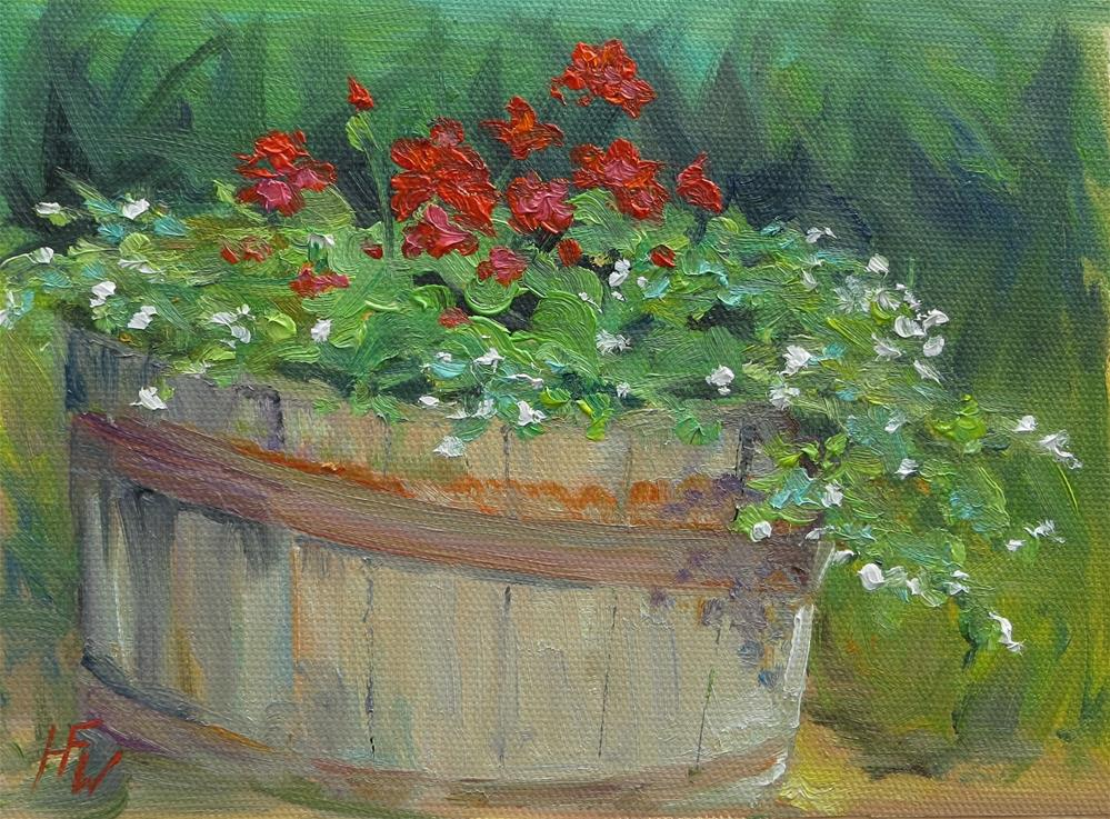 """Barrel of Flowers"" original fine art by H.F. Wallen"