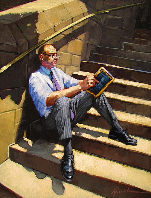 """Away From His Desk"" original fine art by Karin Jurick"