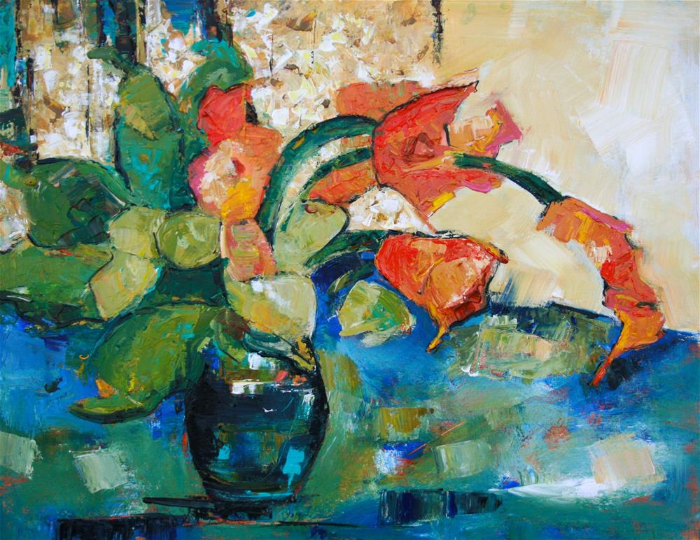 """Orange Cannas"" original fine art by Elizabeth Chapman"