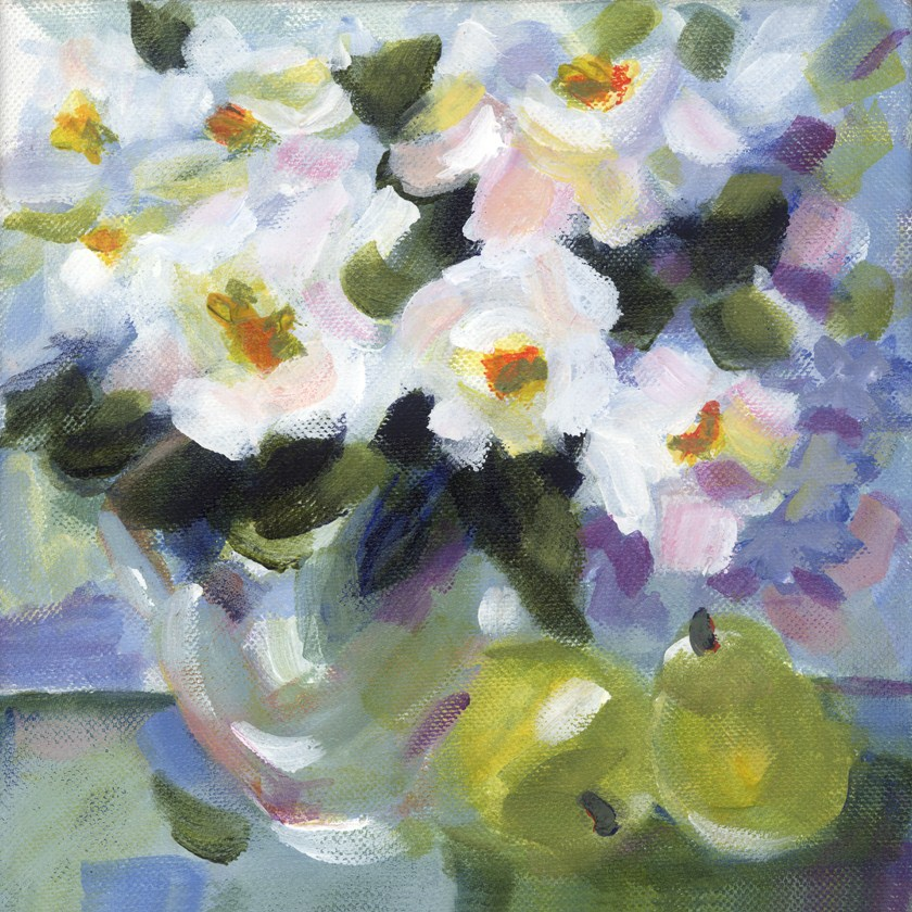 """Peonies & Pears"" original fine art by Pamela Gatens"