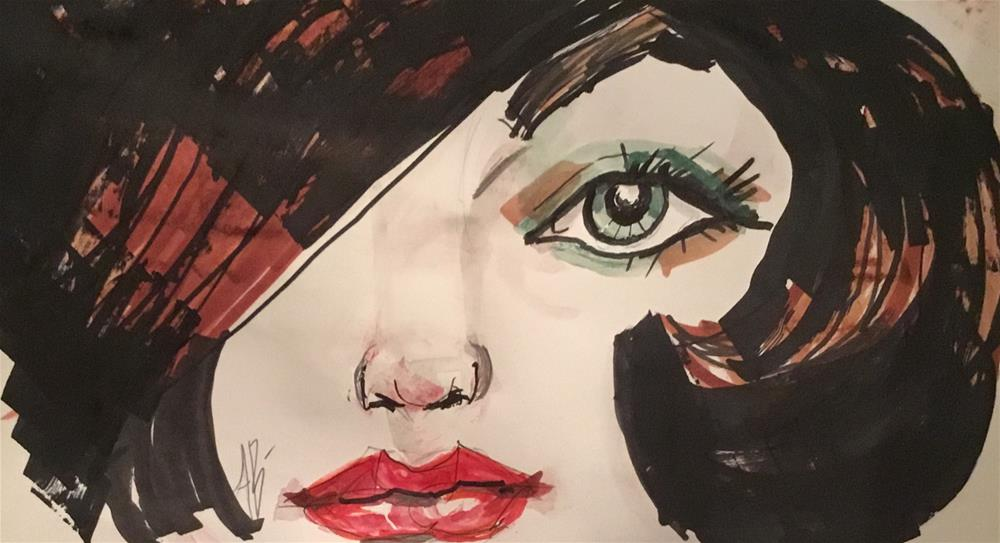 """Fashion face # 1"" original fine art by Annette Balesteri"
