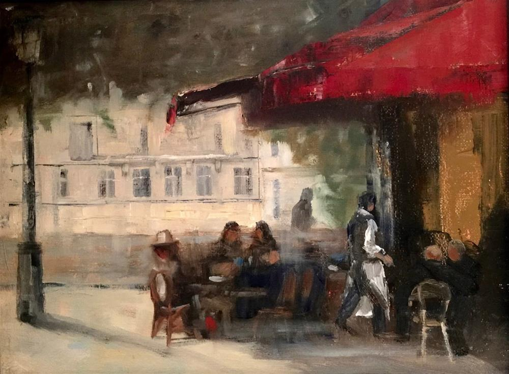 """A Paris Cafe, 12x9"" original fine art by Ann Feldman"