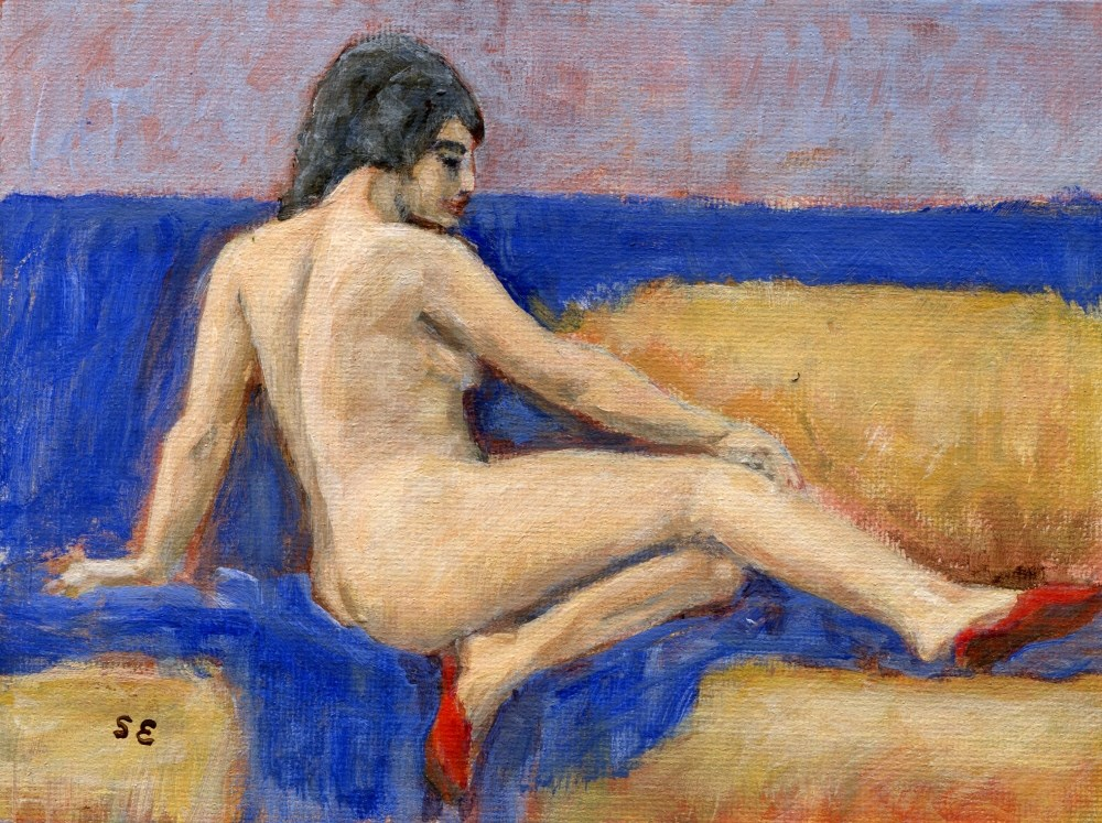 """Red Slippers"" original fine art by Stanley Epperson"