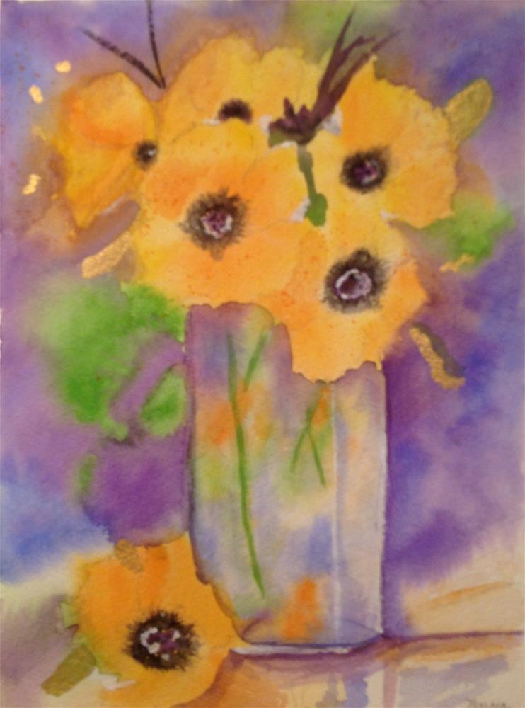 """Golden Flowers"" original fine art by Marcia Bergtholdt"