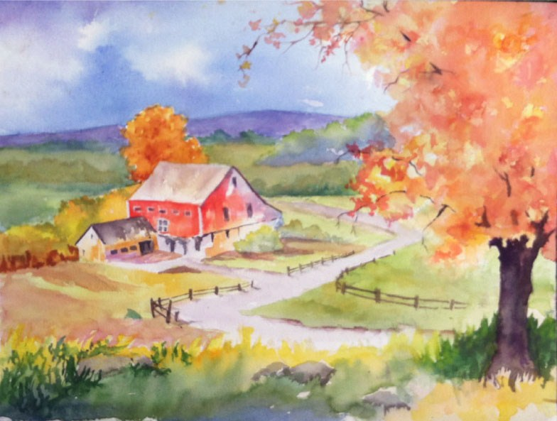 """Fall Farm"" original fine art by Sue Dion"