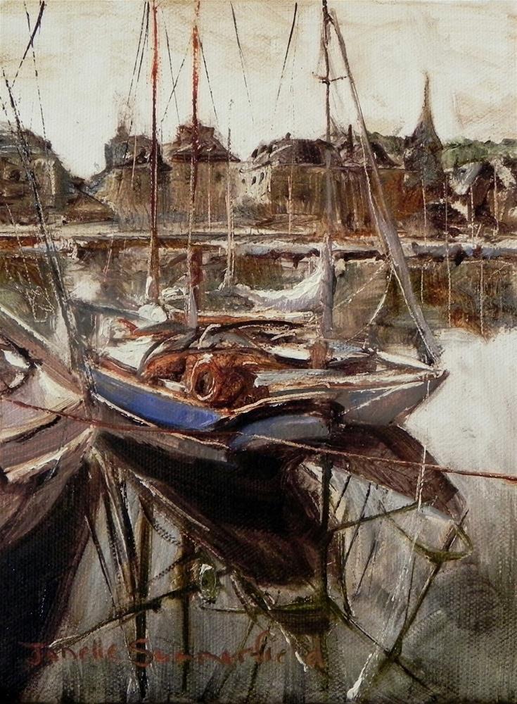 """""""Honfleur Boat Study III"""" original fine art by Jonelle Summerfield"""