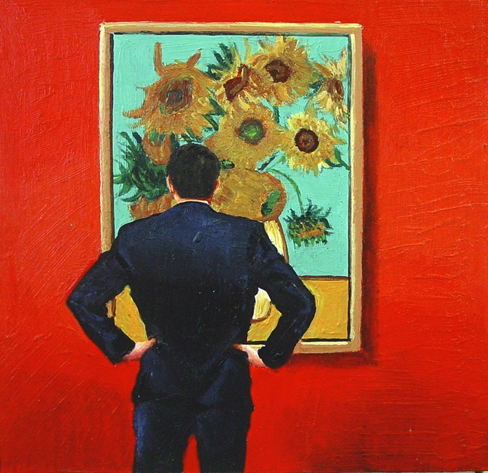 """Sunflowers- Painting Of Man Enjoying Painting By Vincent Van Gogh"" original fine art by Gerard Boersma"