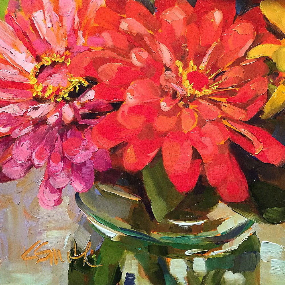 """zinnias"" original fine art by Kim Smith"
