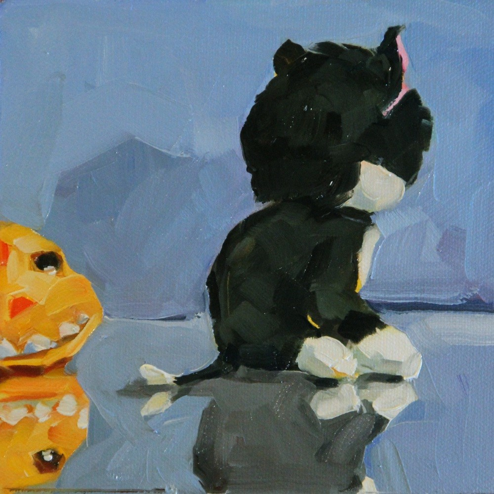 """Kitty Toy #5"" original fine art by C J Roughton"