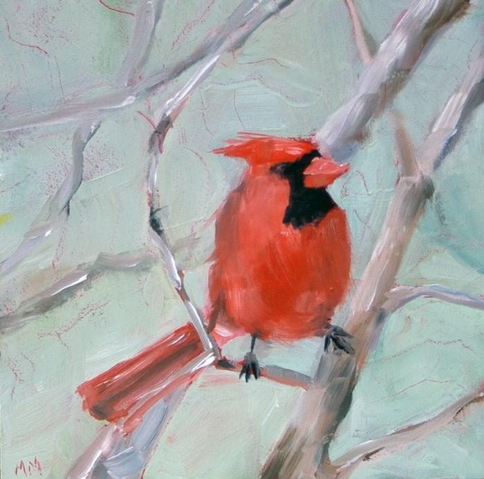 """""""Cardinal - 12"""" original fine art by Maria McNitt"""
