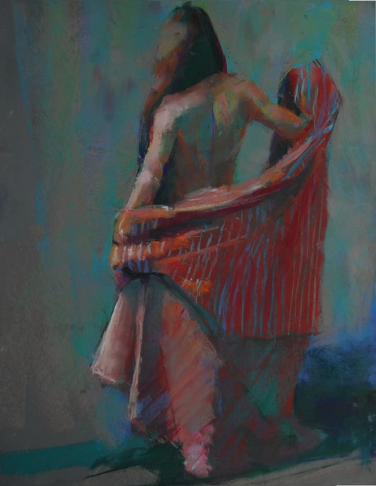 """Denise with Striped Fabric"" original fine art by Margaret Dyer"