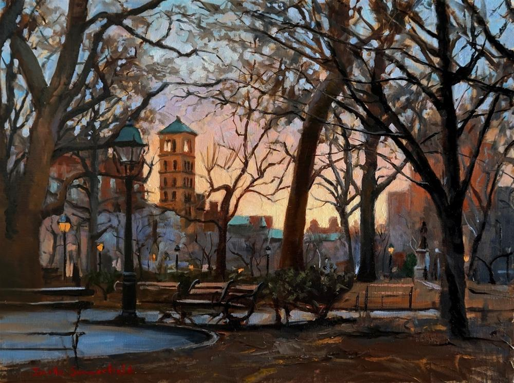"""Washington Square Park at Dusk"" original fine art by Jonelle Summerfield"