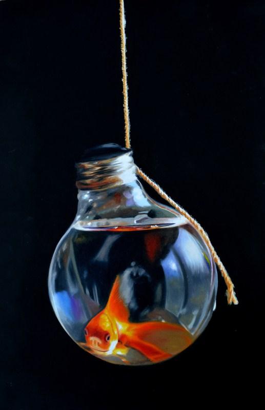 """""""Goldfish Lightbulb #4"""" original fine art by Lauren Pretorius"""