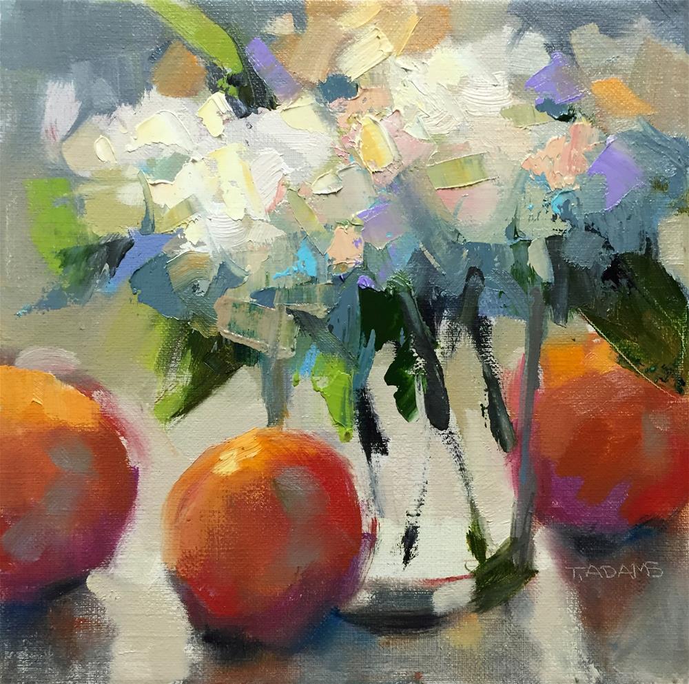 """Hydrangeas & Oranges"" original fine art by Trisha Adams"