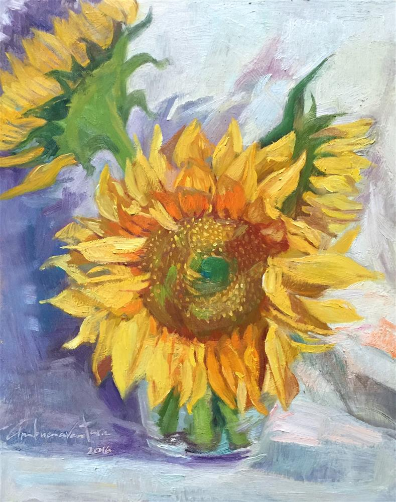 """Sunflower Trio"" original fine art by Ann Buenaventura"