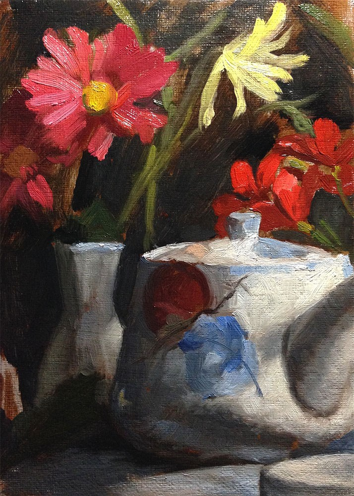 """""""Flowers and China 3"""" original fine art by Chris Beaven"""