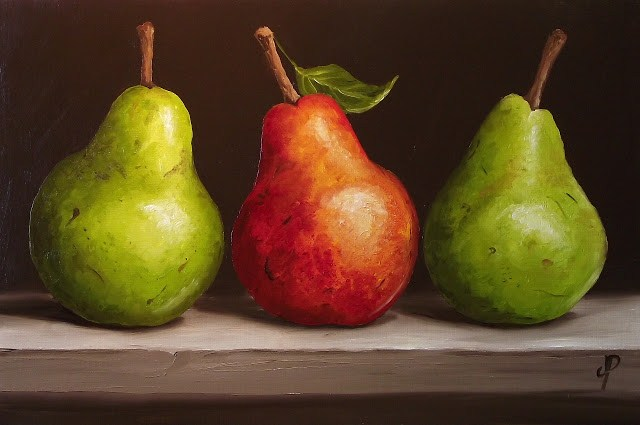 """3 Williams Pears"" original fine art by Jane Palmer"