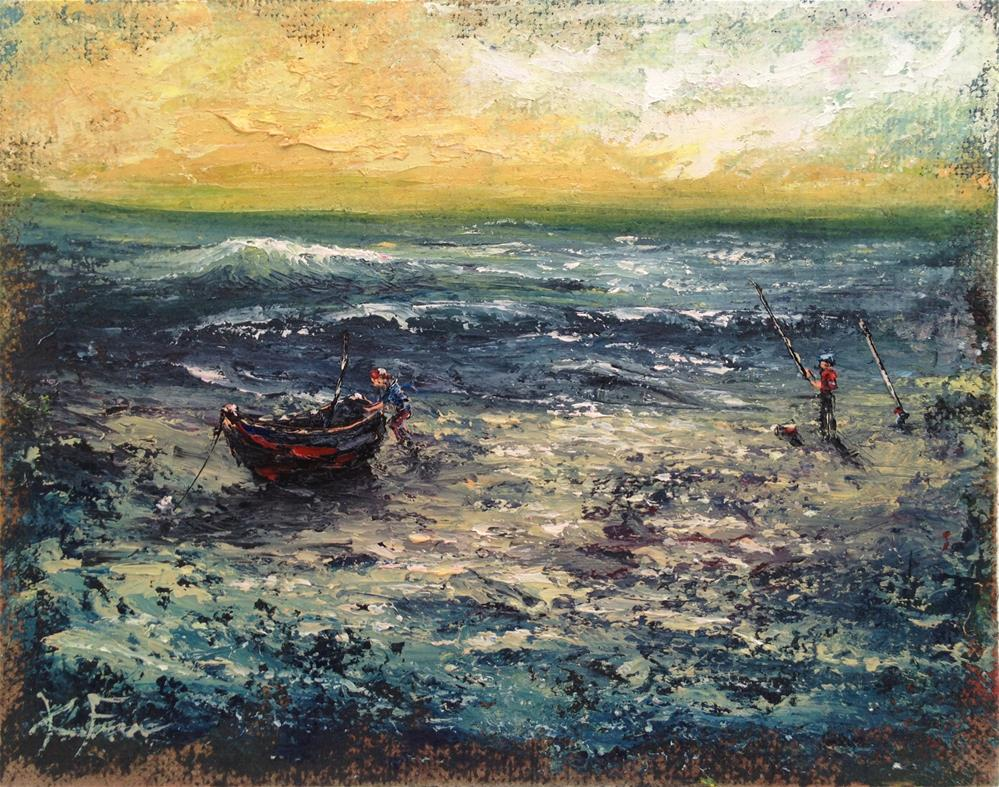 """Fishin the Surf"" original fine art by Ken Fraser"
