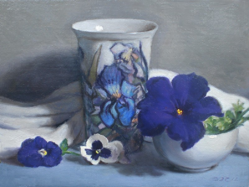 """Pansies, Iris, and Petunia"" original fine art by Debra Becks Cooper"