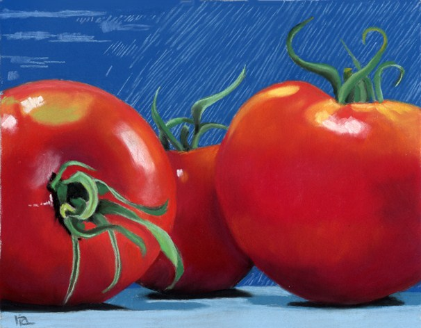 """3 Tomatoes"" original fine art by Ria Hills"