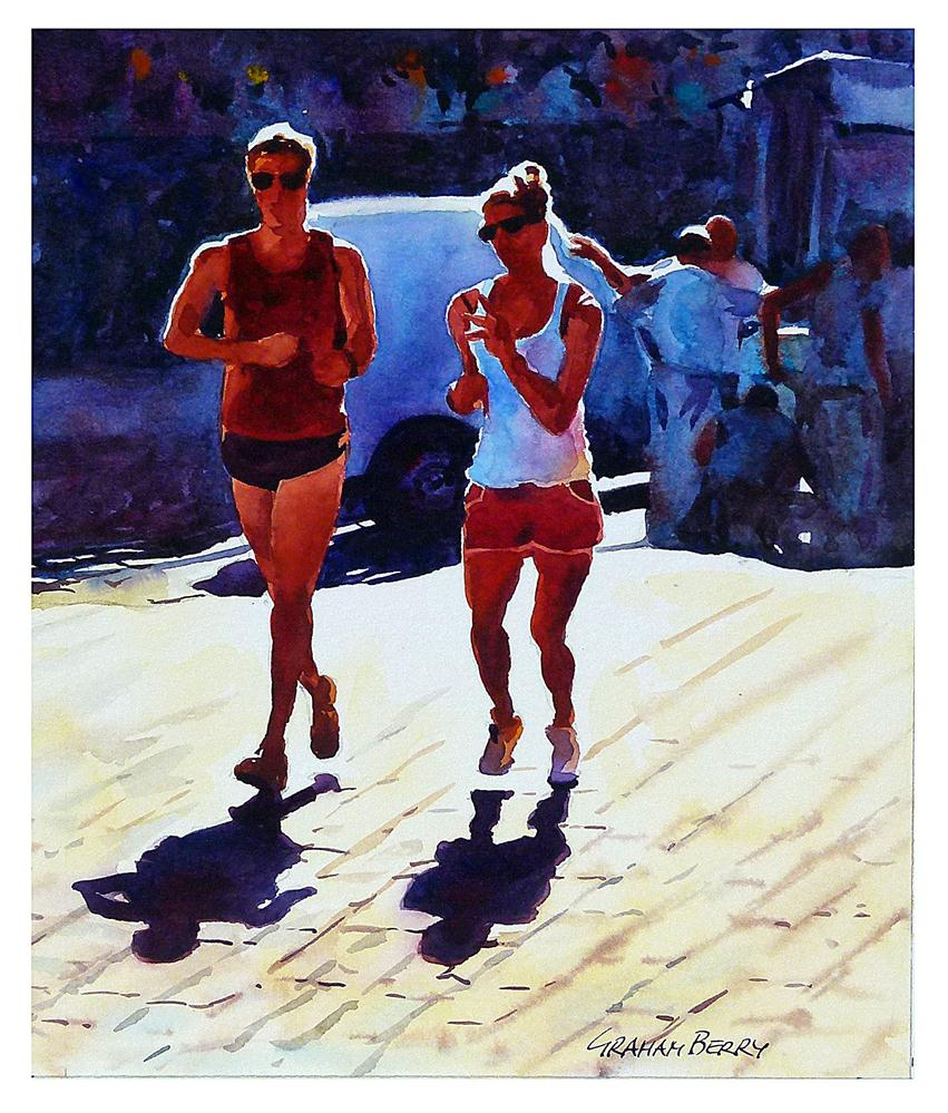 """Sunshine joggers"" original fine art by Graham Berry"