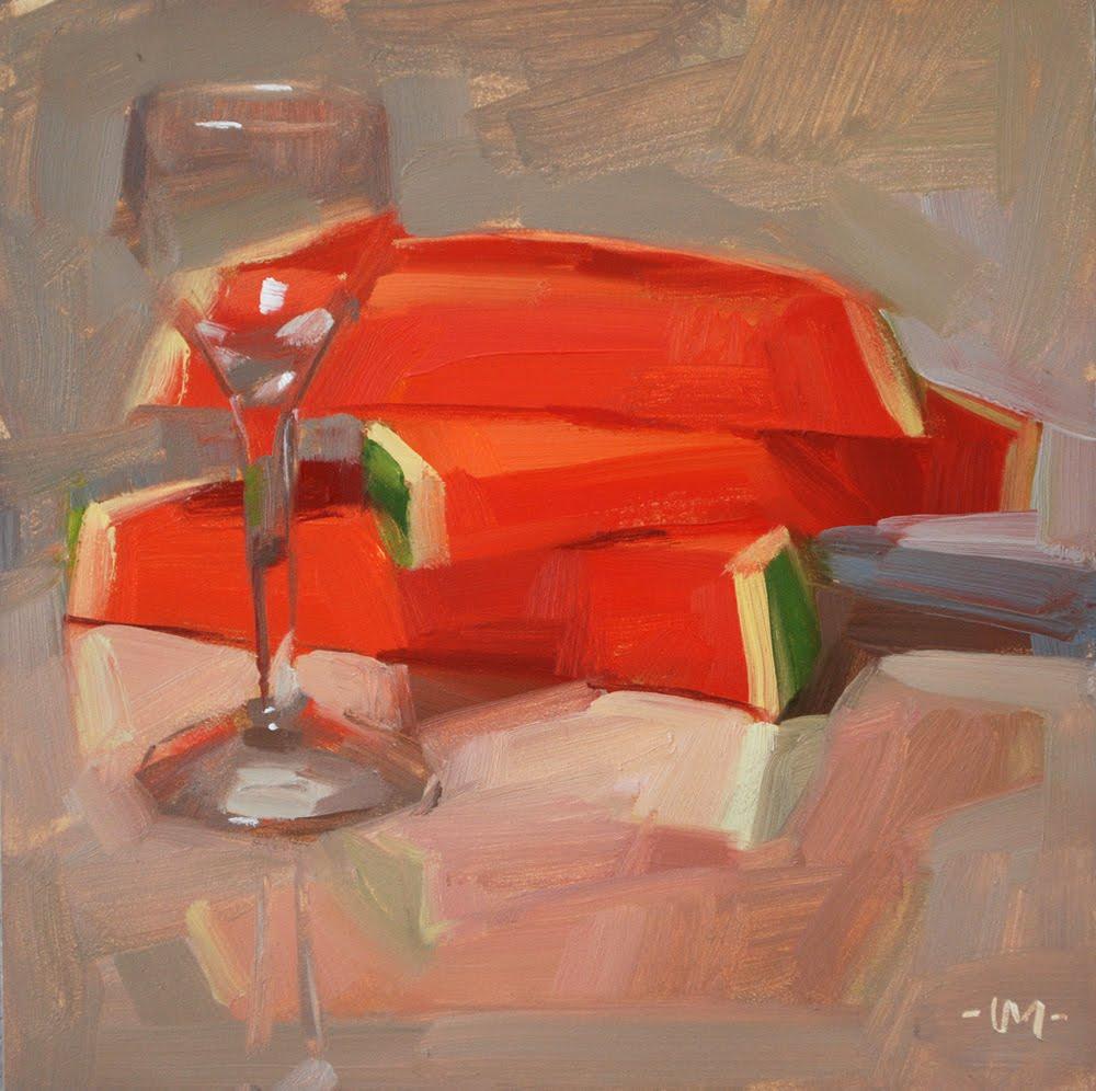 """Watermelon Aperitif"" original fine art by Carol Marine"