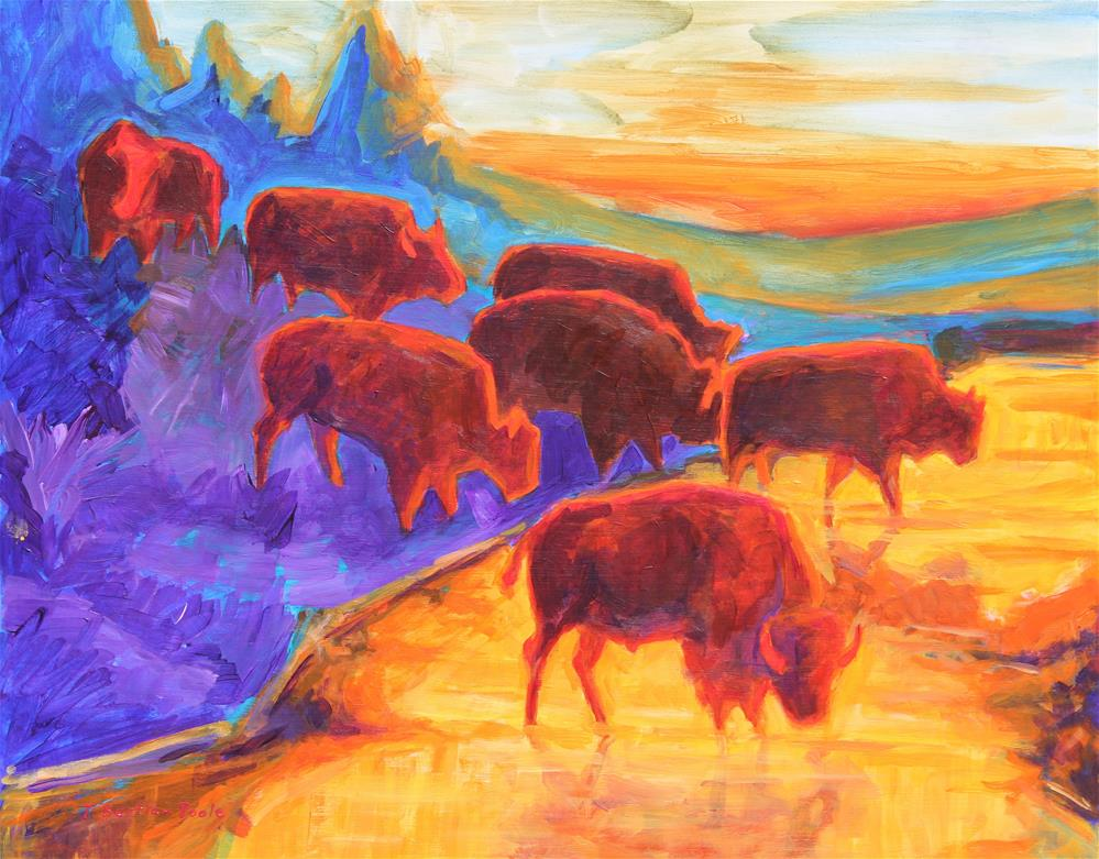 """""""Western Art Red Bison Silhouettes at Sunset painting T Bertram Poole"""" original fine art by Bertram Poole"""