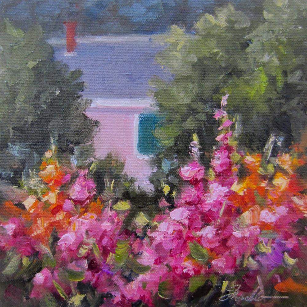"""""""Gladiolus in the Garden"""" original fine art by Pat Fiorello"""