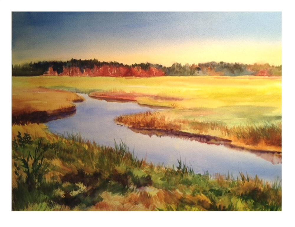 """""""Autumn Marsh"""" original fine art by Suzanne Woodward"""