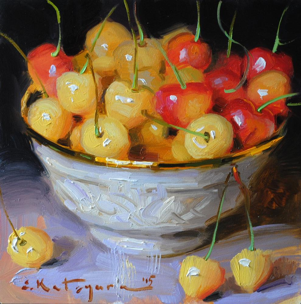 """Bowl of Yellow Cherries"" original fine art by Elena Katsyura"