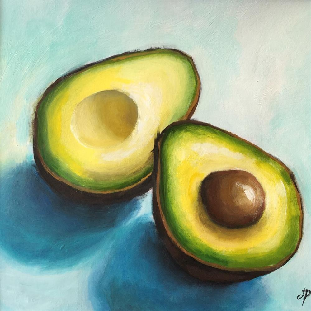 """Avocados on blue"" original fine art by Jane Palmer"