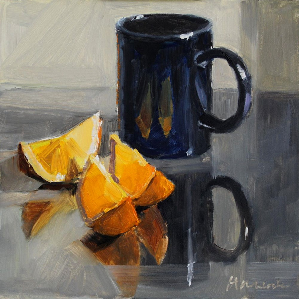 """Black Cup and Oranges on Mirror"" original fine art by Gretchen Hancock"