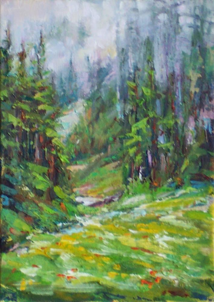 """Mountain Fog,landscape,oil on canvas,7x5,priceNFS"" original fine art by Joy Olney"