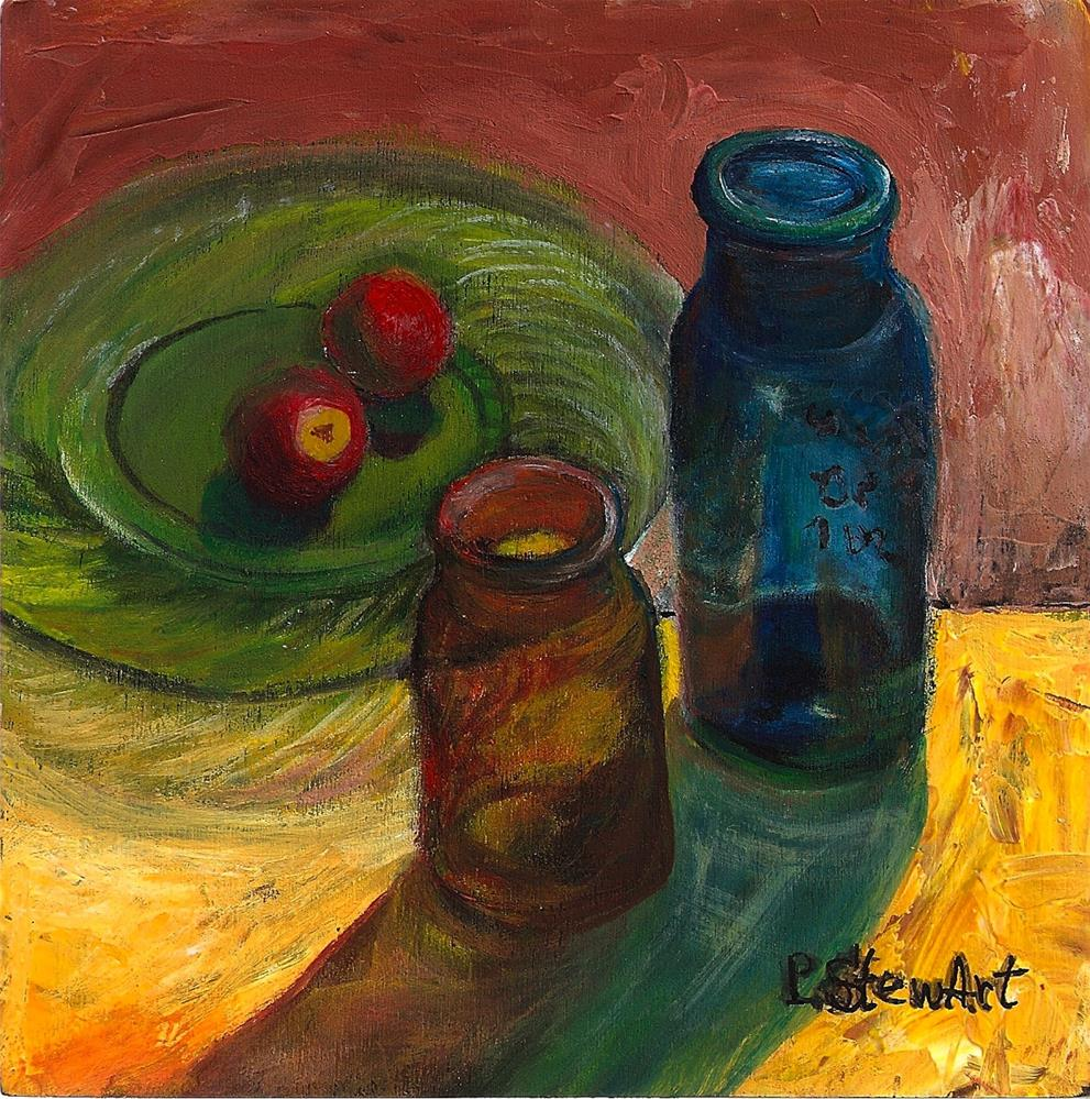 """6x6 Glass Shadows Bottles and Plate Radishes Green Yellow Blue Acrylic Penny StewArt"" original fine art by Penny Lee StewArt"