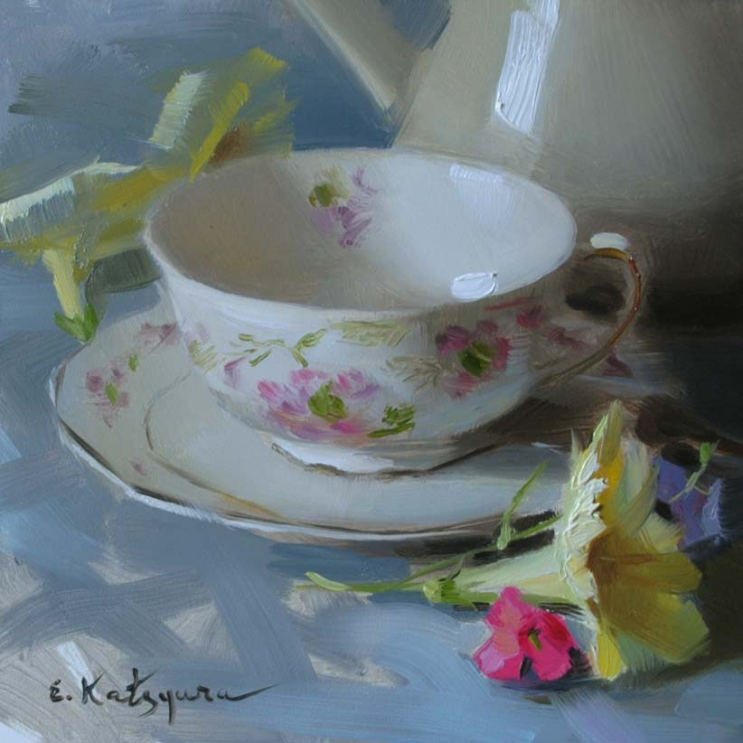 """Teacup and Petunias"" original fine art by Elena Katsyura"