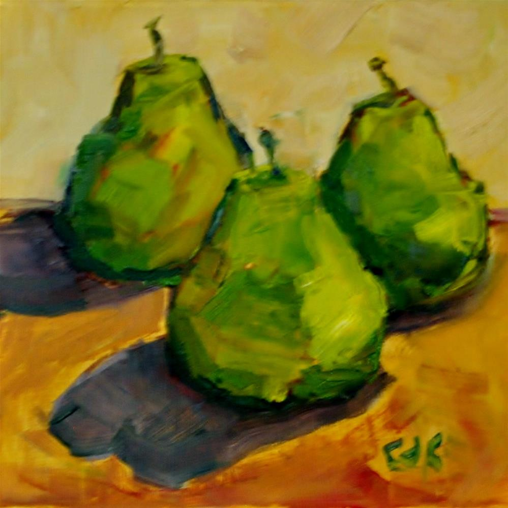 """Pear Trio"" original fine art by Catherine Crookston"