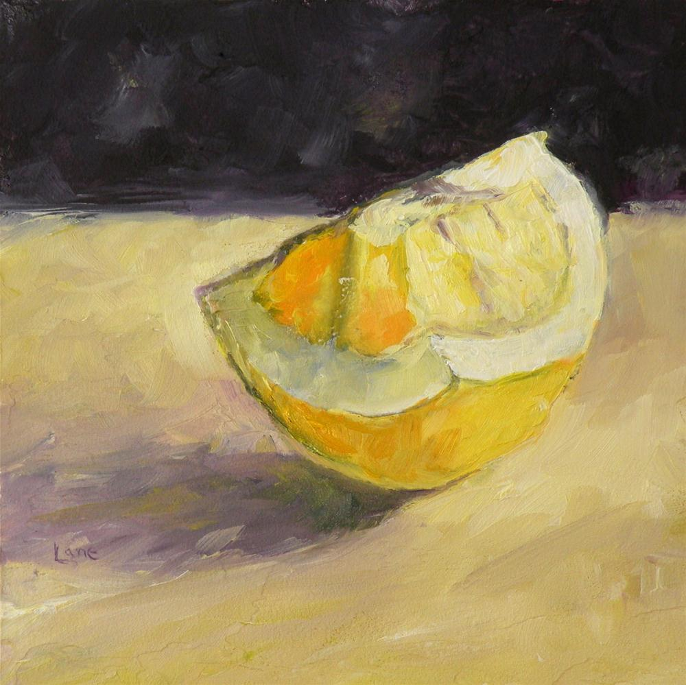 """LEMON WEDGIE ORIGINAL OIL MINI ON LIGHT TEXTURED PANEL © SAUNDRA LANE GALLOWAY"" original fine art by Saundra Lane Galloway"