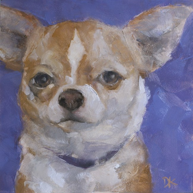 """Dog Days of Summer - Sheldon - Dog Portrait"" original fine art by Deb Kirkeeide"