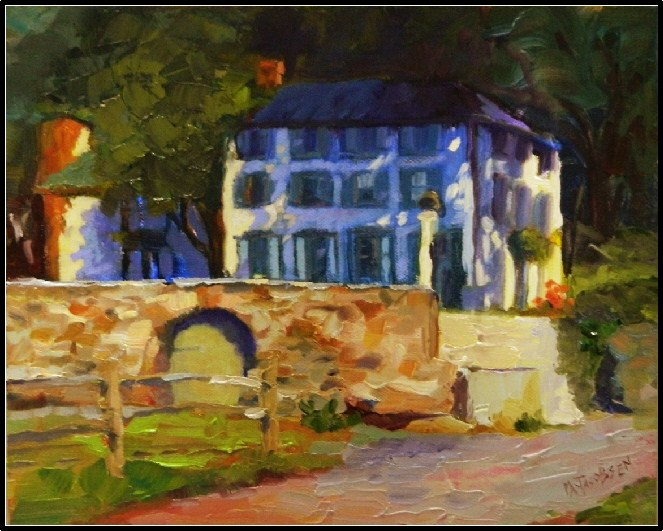 """Vixen Hill Farmhouse, 8x10, oil on Raymar panel, gentleman's farm, Chester County, historic proper"" original fine art by Maryanne Jacobsen"