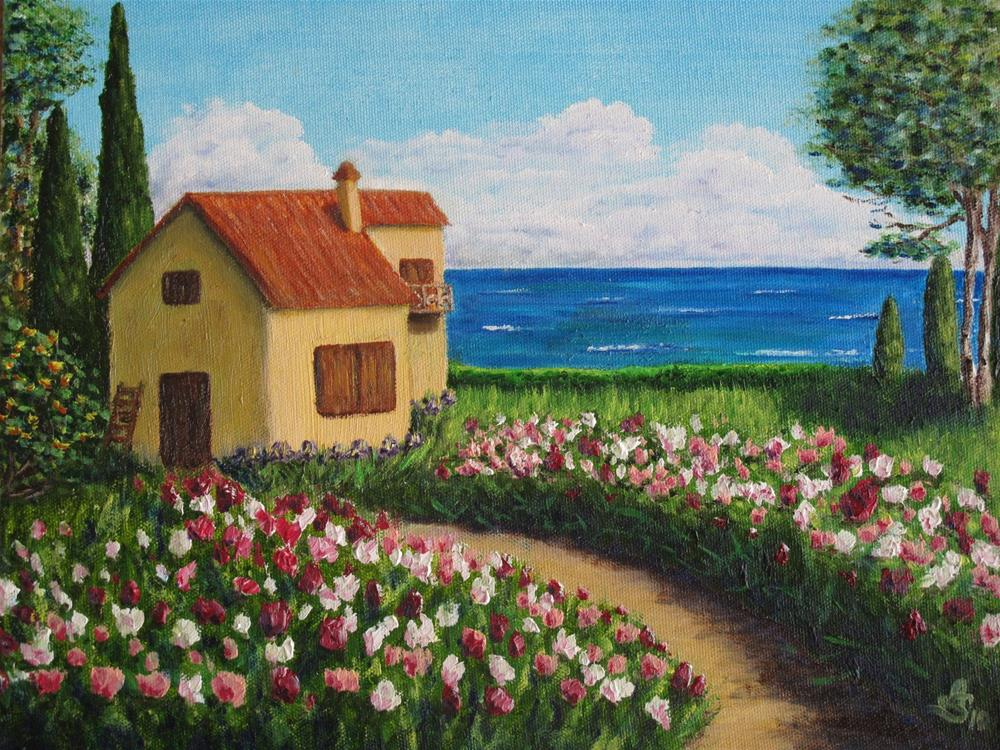 """A house by the sea"" original fine art by Anna Starkova"
