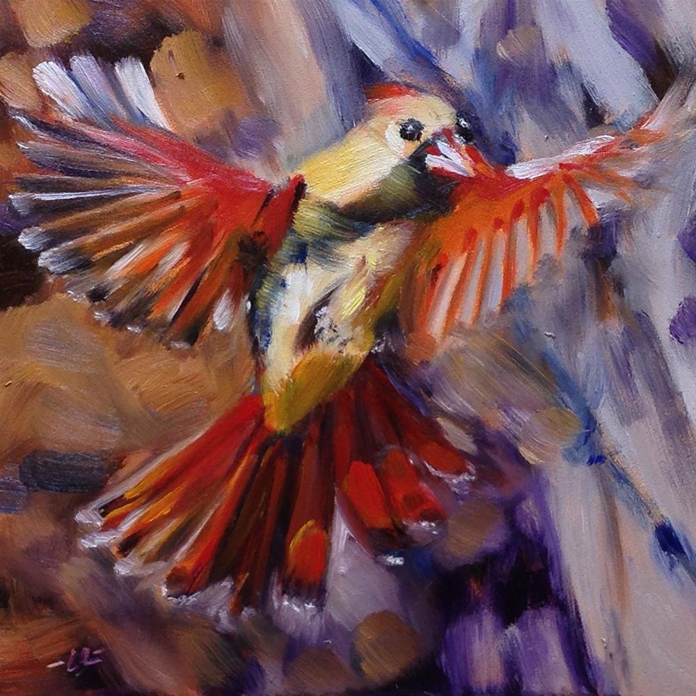 """Mama Cardinal"" original fine art by Linda Lowery"
